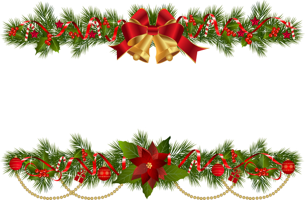 christmas bell decor with fir branches border vector welovesolo rh welovesolo com christmas border vector art christmas border vector free