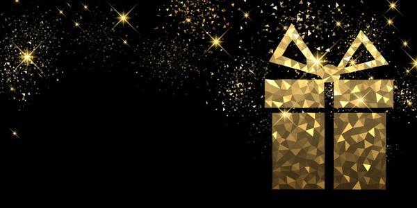 stars light golden gift christmas box black