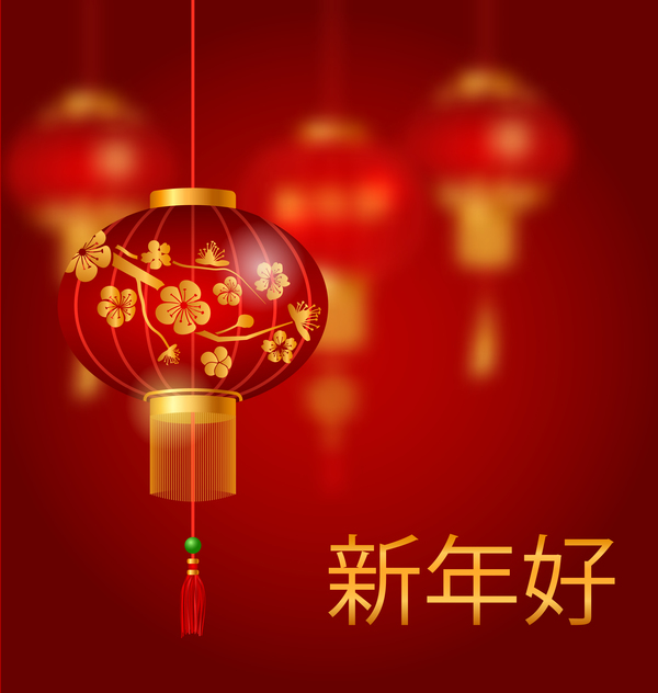 lantern with chinese new year red background vector 04 welovesolo