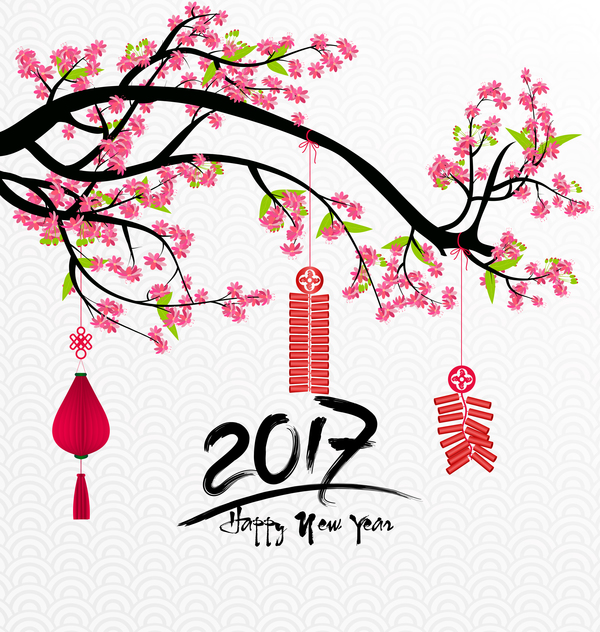 2017 Chinese New Year Background With Flowers Vector 03