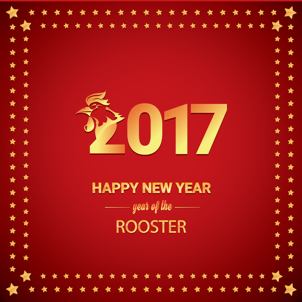 2017 Chinese New Year Of Rooster With Stars Frame Vector 02 Welovesolo