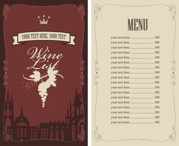 Wine menu list template vector material 09 - WeLoveSoLo