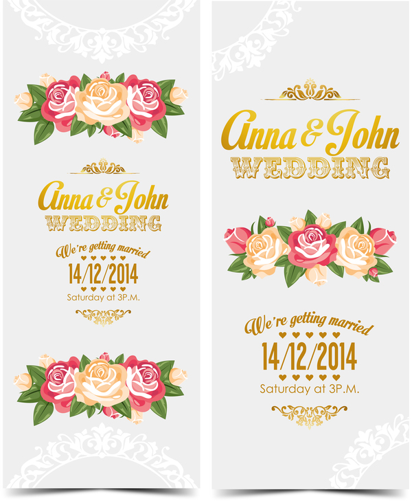 Wedding invitation vertical card with flower vector 07 welovesolo wedding invitation vertical card with flower vector 07 stopboris Images
