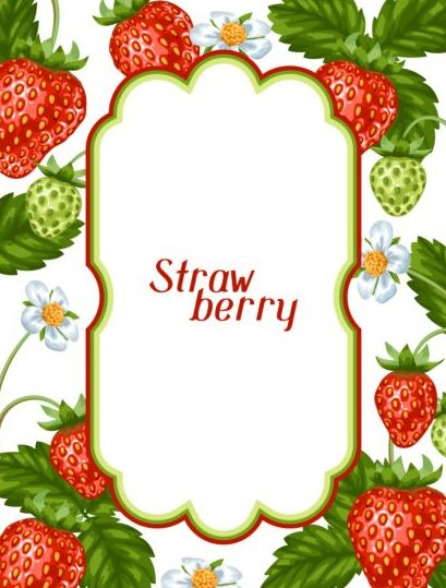 Vector frame with white strawberries - WeLoveSoLo
