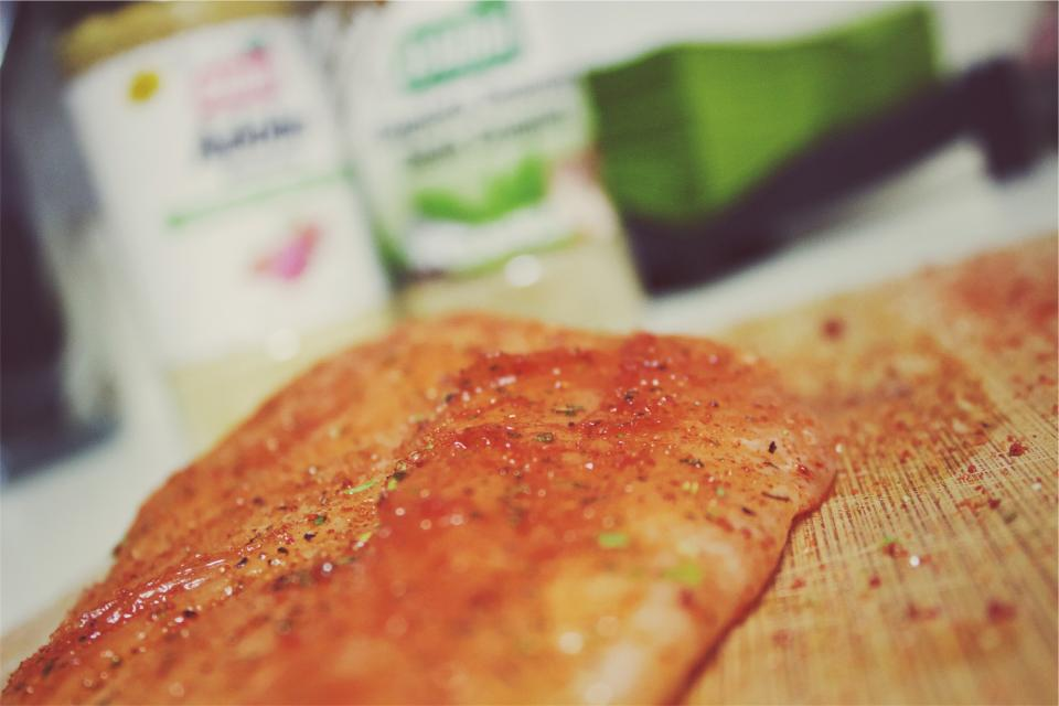 spices salmon kitchen food fish cuttingboard cooking
