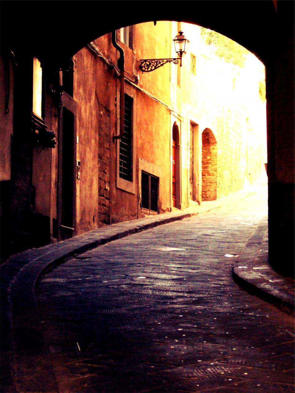 walls Venice street sidewalk Italy cobblestone buildings architecture arch