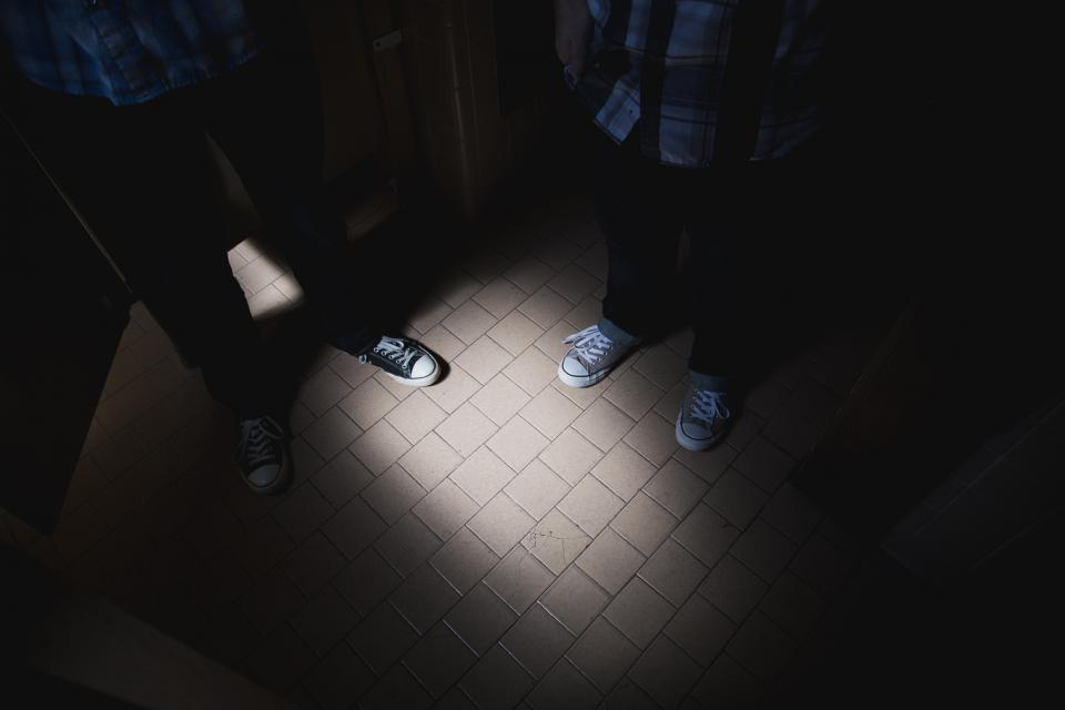 tiles shoes room floor dark converse