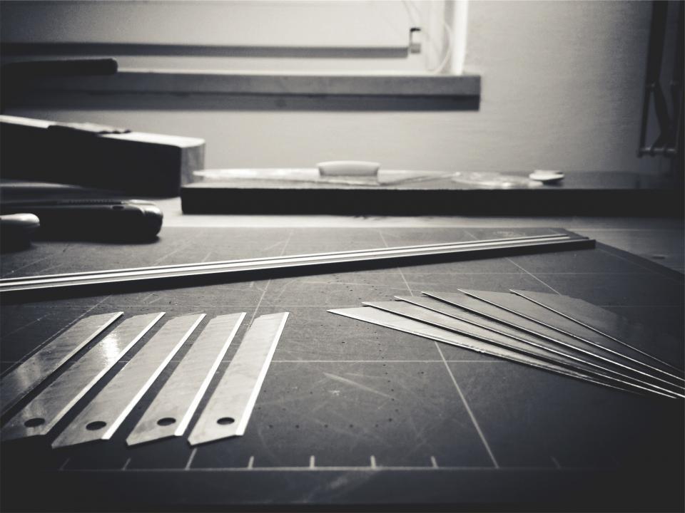 workshop tools razorblades materials blackandwhite