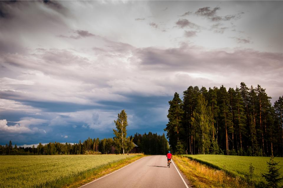 trees sunshine sky rural road grass forest fitness fields exercise cyclist cycling clouds biking bike bicycle