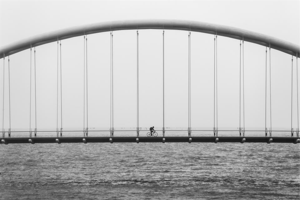 water lake fitness exercise cyclist Bridge blackandwhite biker bicycle architecture