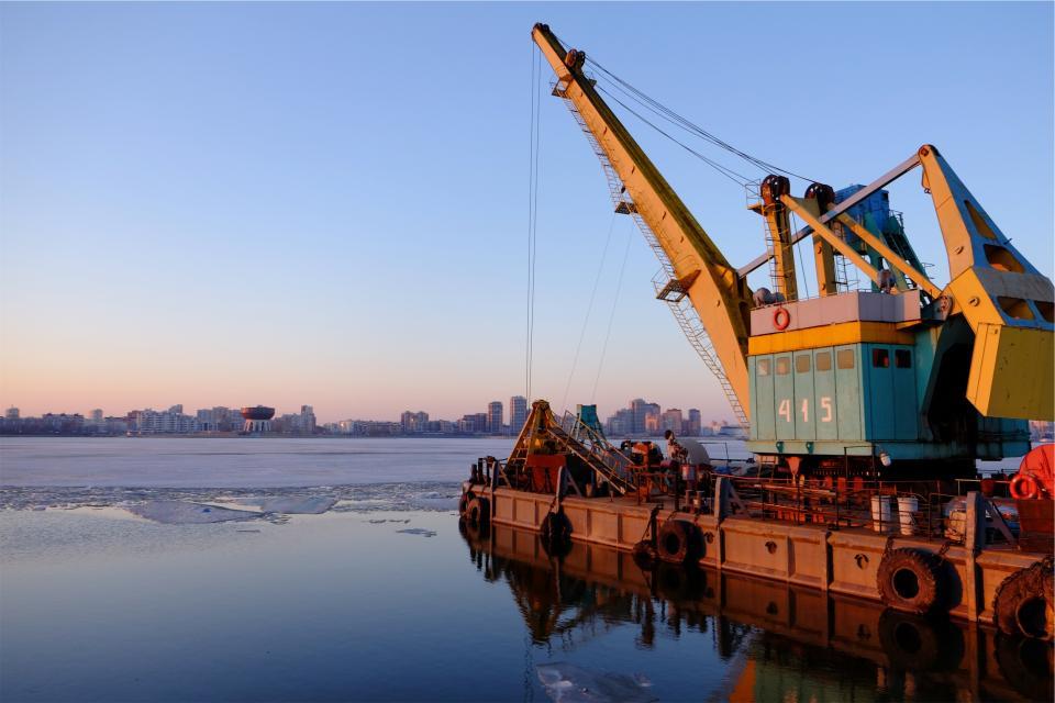 water port ice harbour harbor frozen equipment crane