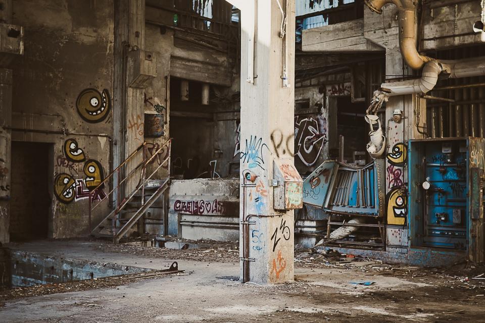 warehouse spraypaint pipes pillars machinery industrial graffiti equipment concrete abandoned