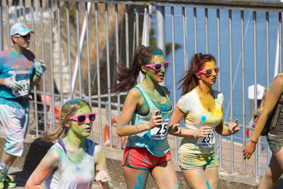 young sunglasses shorts running runners rainbowrun race people paint longhair jogging girls fitness exercise colorrun brunettes