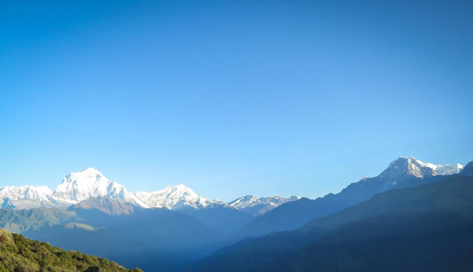 valleys snow sky peaks Nepal nature mountains landscape hills blue AnnapurnaMountainRange