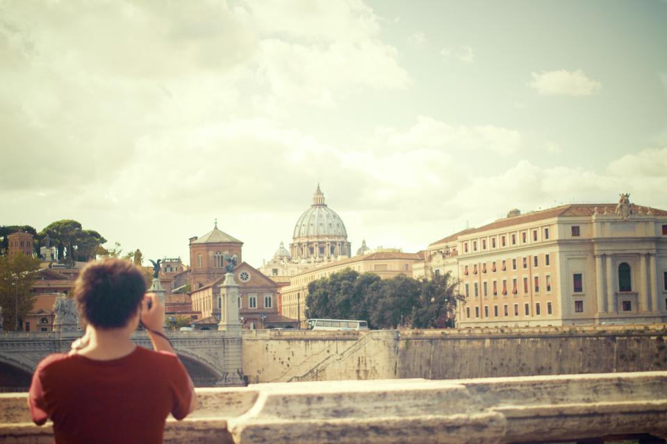 woman VaticanCity tourist Rome Ponte-Sant'Angelo photographer people girl city buildings architecture