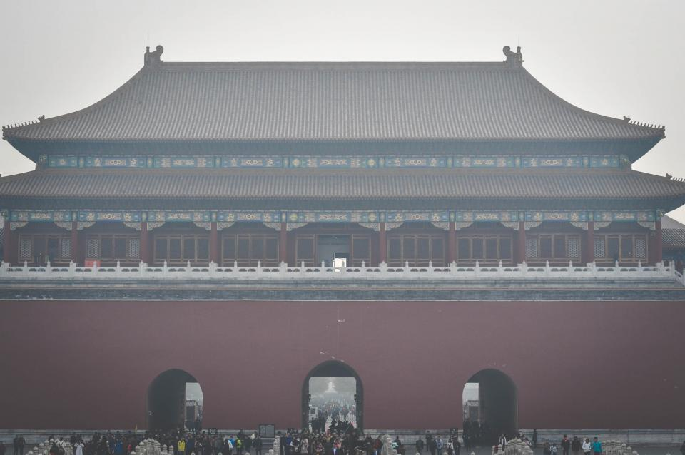 tourists temple people gates ForbiddenCity culture crowd china Beijing architecture