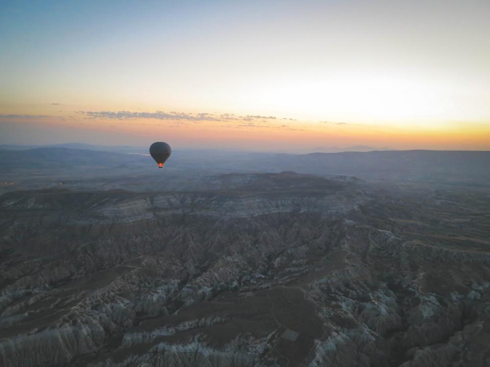 view turkey sunset sky rocks nature mountains landscape hotairballoon hills Cappadocia aerial