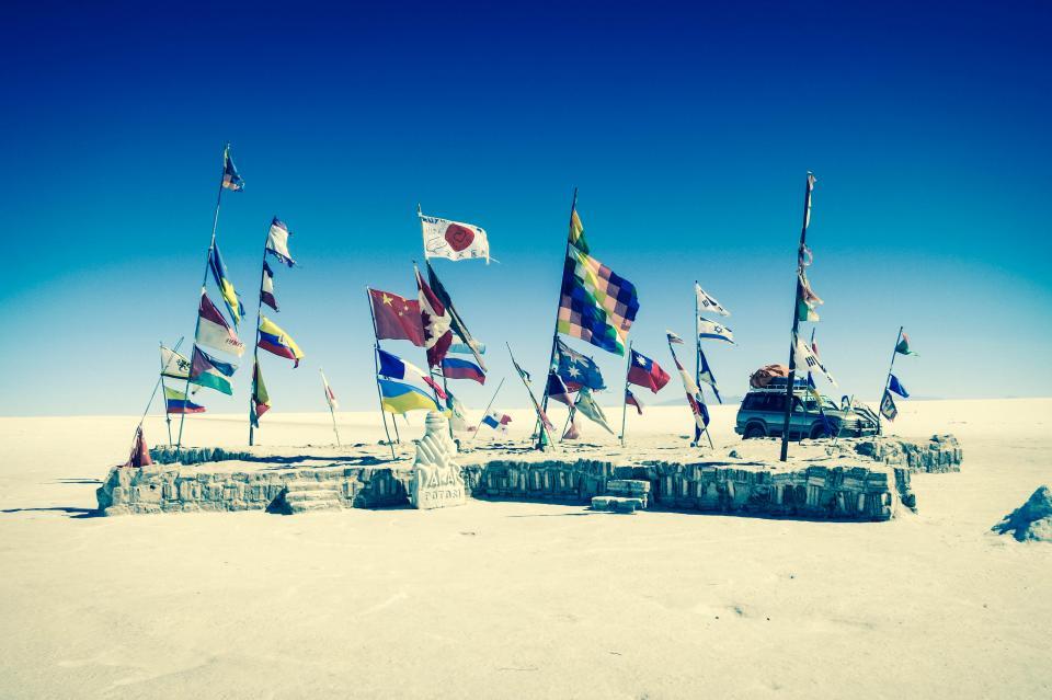 vehicle UyuniSaltFlats truck suv flags Bolivia