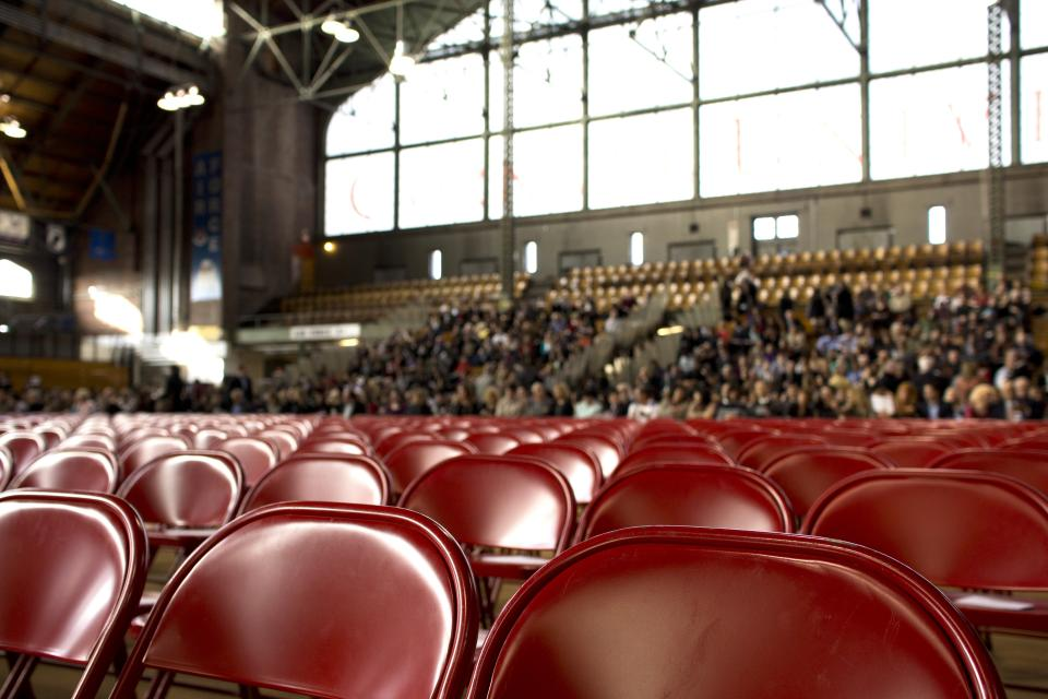 Windows stands stadium spectators seats red hall gym crowd chairs