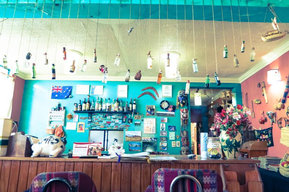tips strings shelves restaurant jars counter chairs boutique bottles