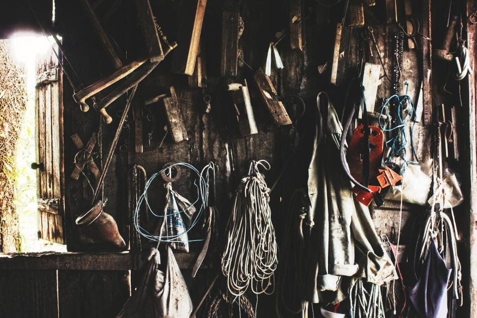 workshop wood tools string shed saw rope Coat