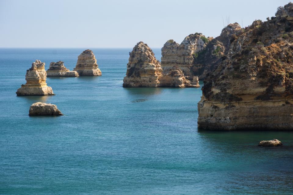 water sea rocks PraiaDoCamilo Portugal ocean coast cliffs