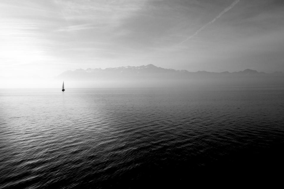 Black And White Sailboat Water Welovesolo