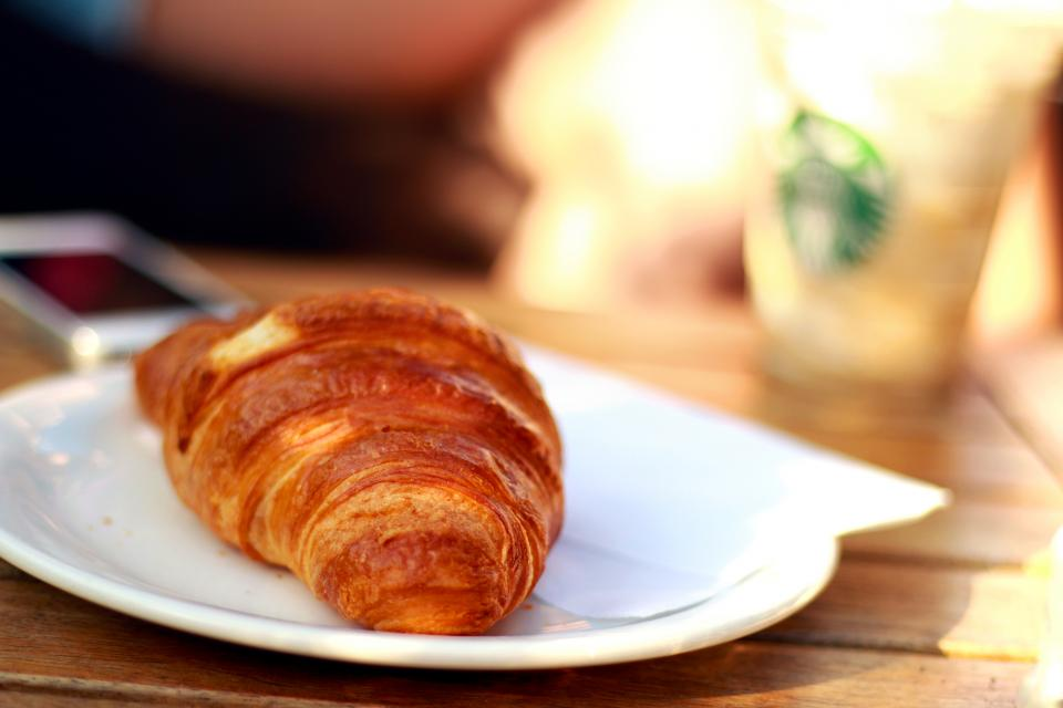 plate pastry food croissant breakfast