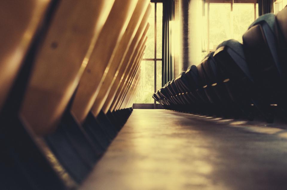 Windows sunlight seats pillar chairs auditorium