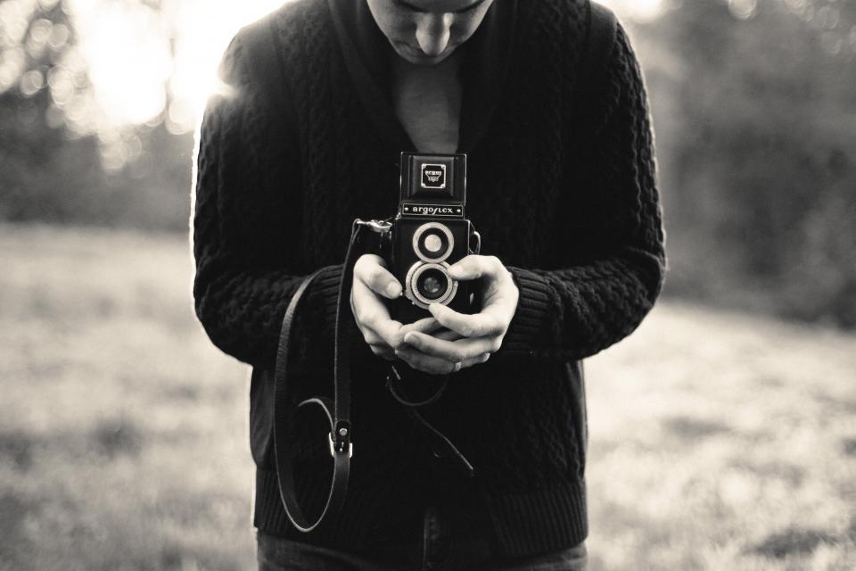 sweater strap picture people man lens camera blackandwhite argoflex