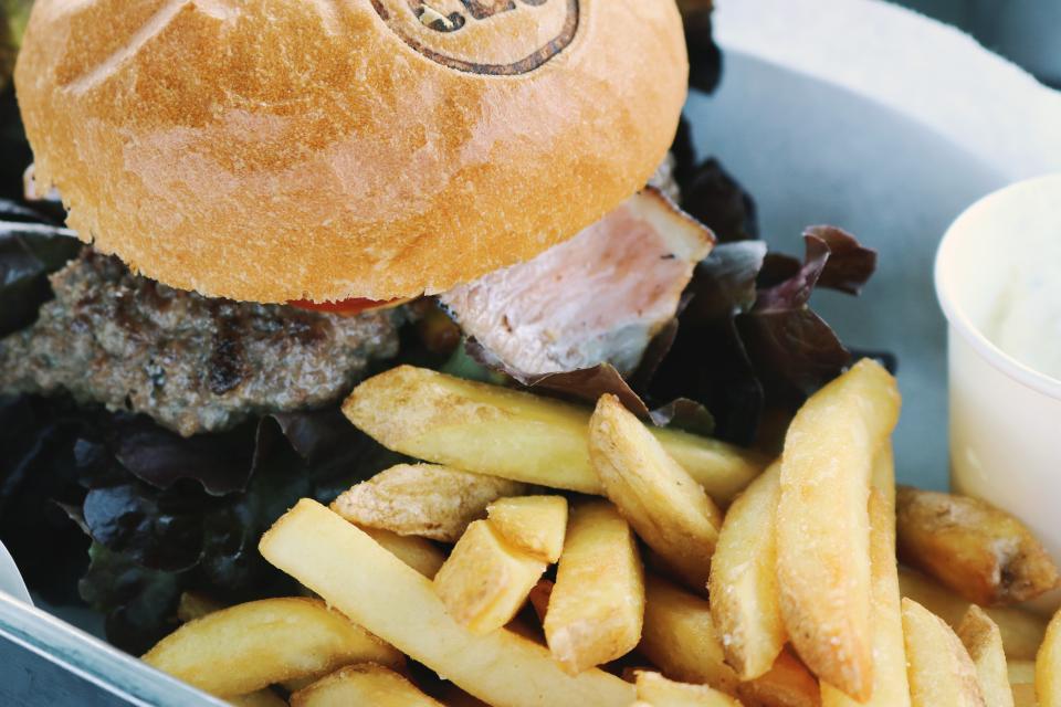 lunch hamburger fries food dinner bun