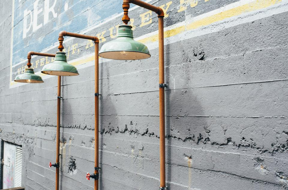 wall pipes mural lights lamps knob concrete
