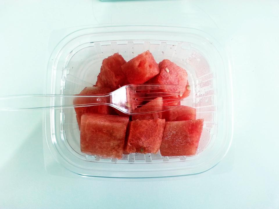 watermelon plastic fruits fork food container