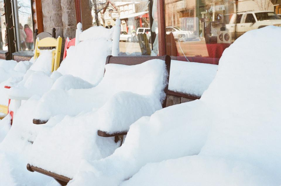 winter Windows store snow cold chairs