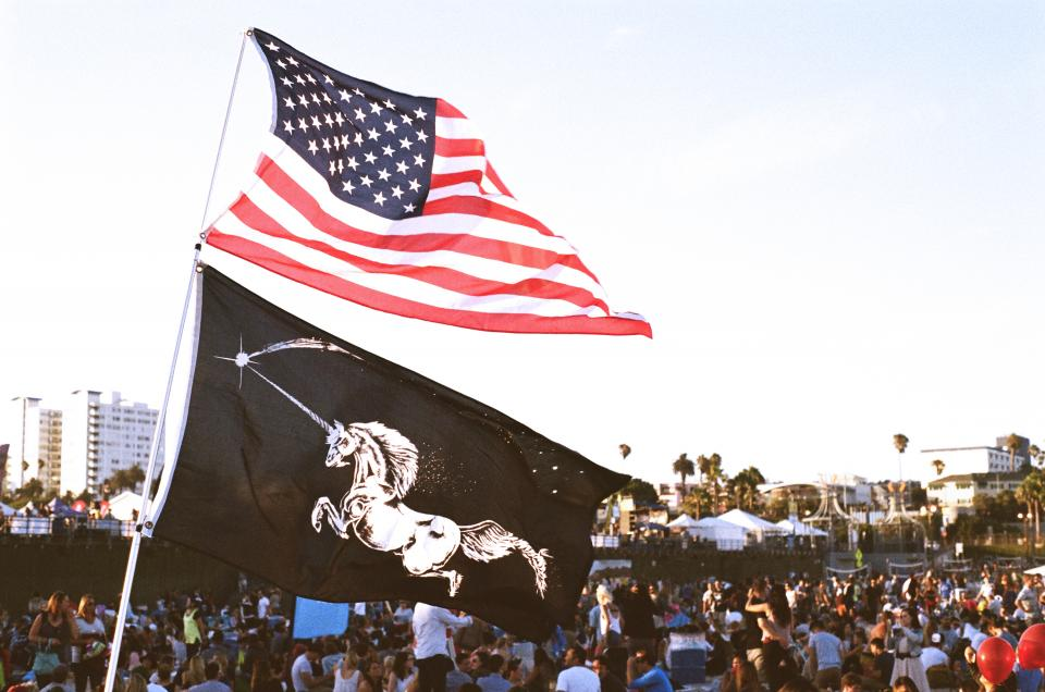 USA UnitedStates unicorns people party flags festival crowded busy
