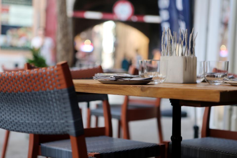utensils table restaurant plates knife glasses fork eating chairs