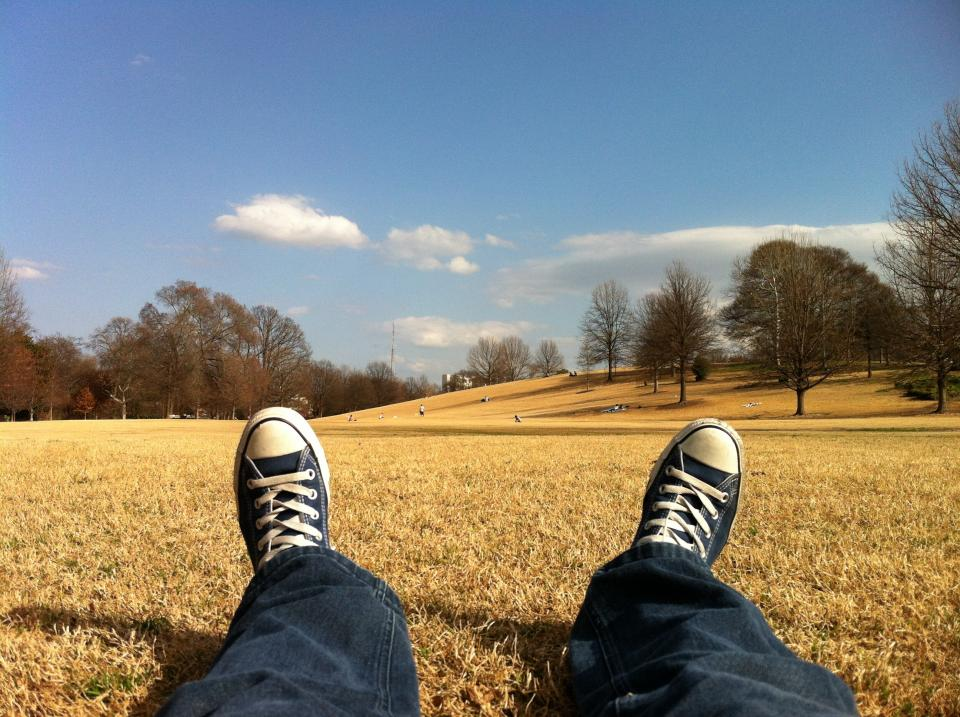 trees sneakers sky shoes legs laces jeans field feet converse clouds blue