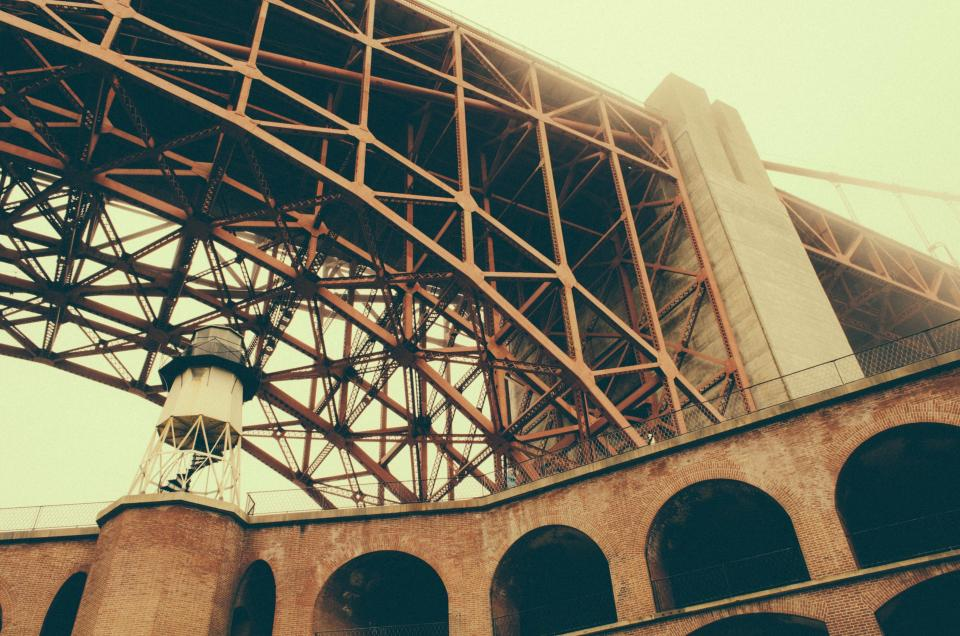 steel sky lookout Bridge brick arch