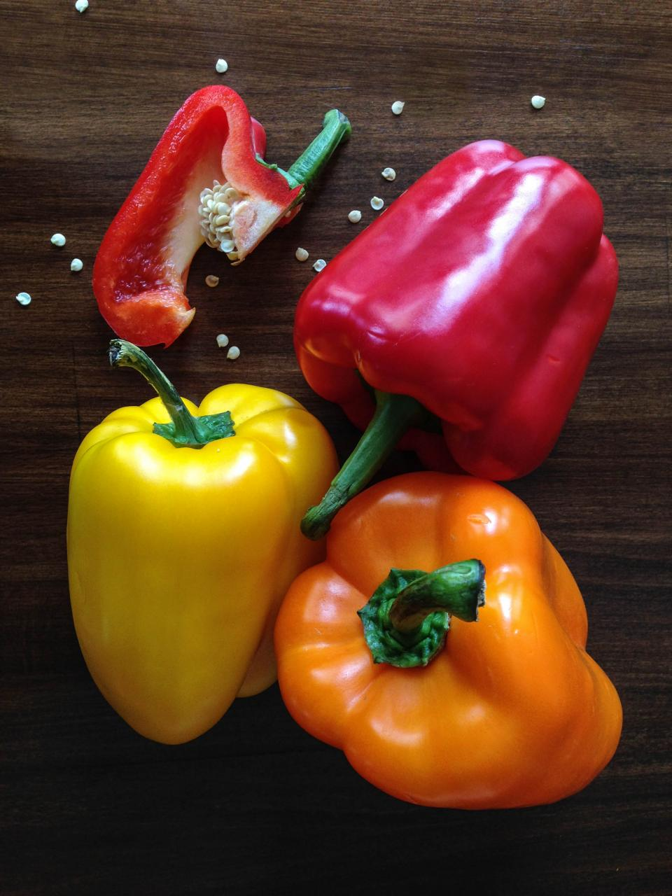 yellow wood vegetables seeds red peppers orange
