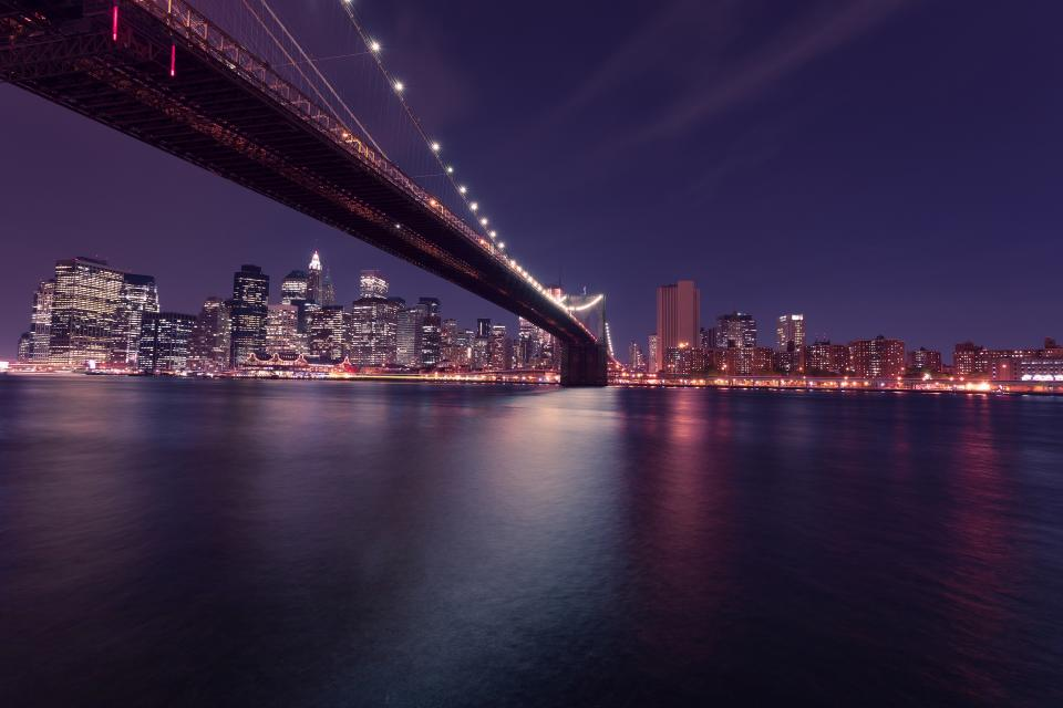 water view skyline purple night lights evening dark city buildings Bridge architecture