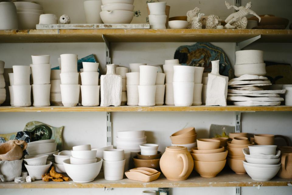 workshop shelves pottery ceramics