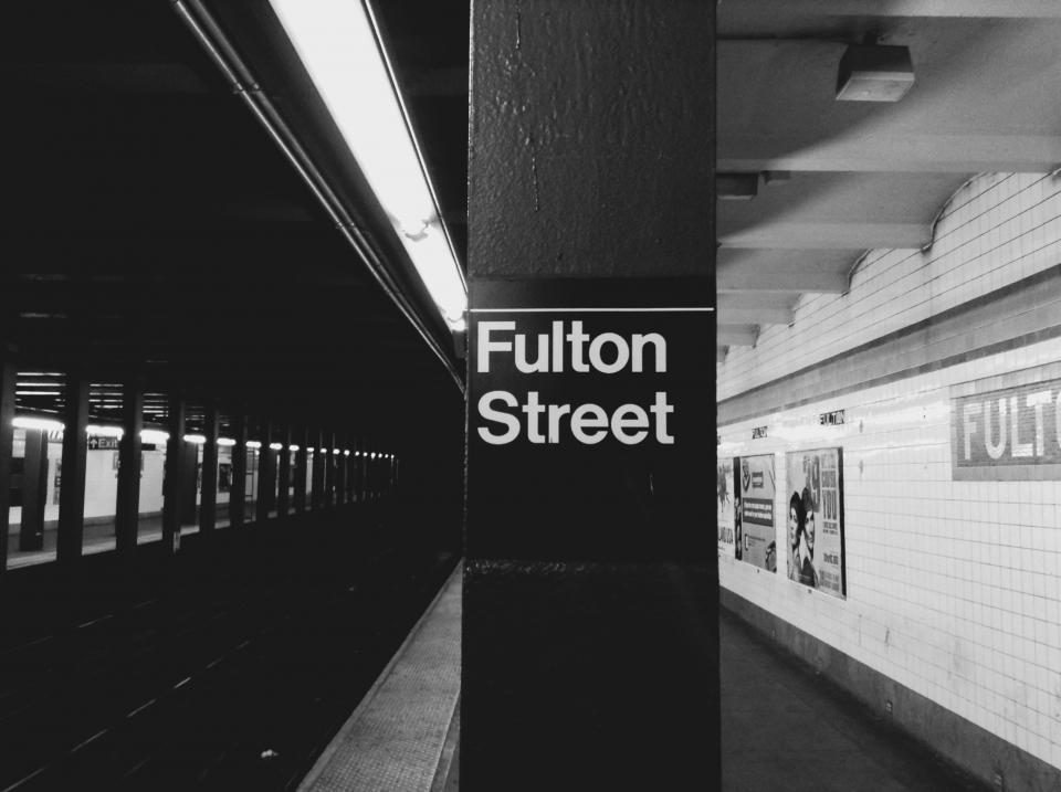 urban transportation subway station platform NYC NewYorkcity FultonStreet blackandwhite