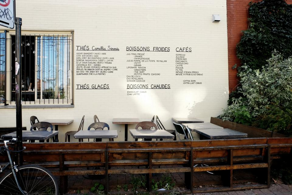 terrace tables restaurant menu French chairs cafe