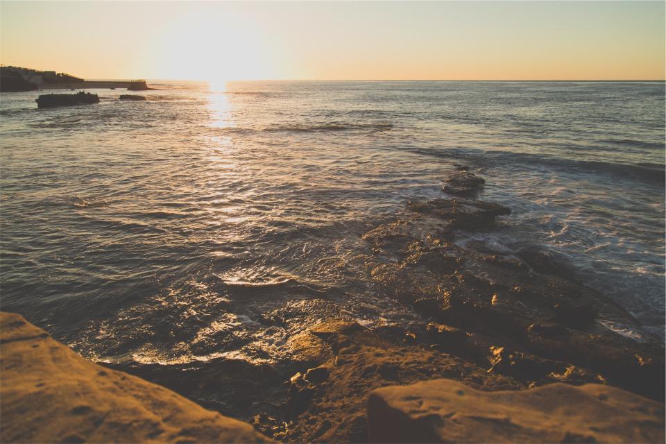 waves water sunshine sunset shore sea ocean horizon beach