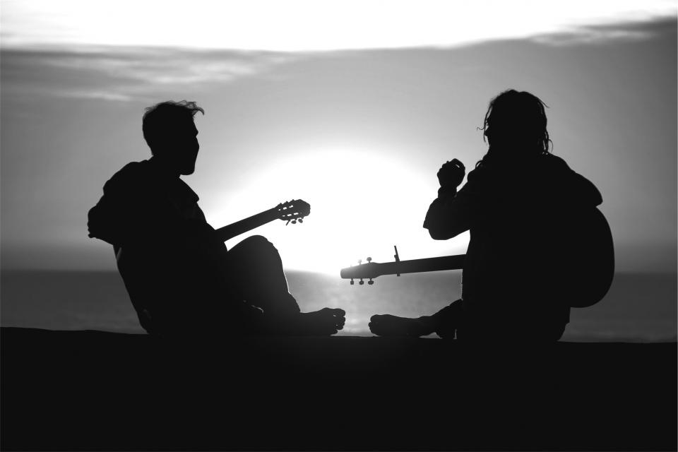 sunset silhouette people musicians music guy guitars girl blackandwhite