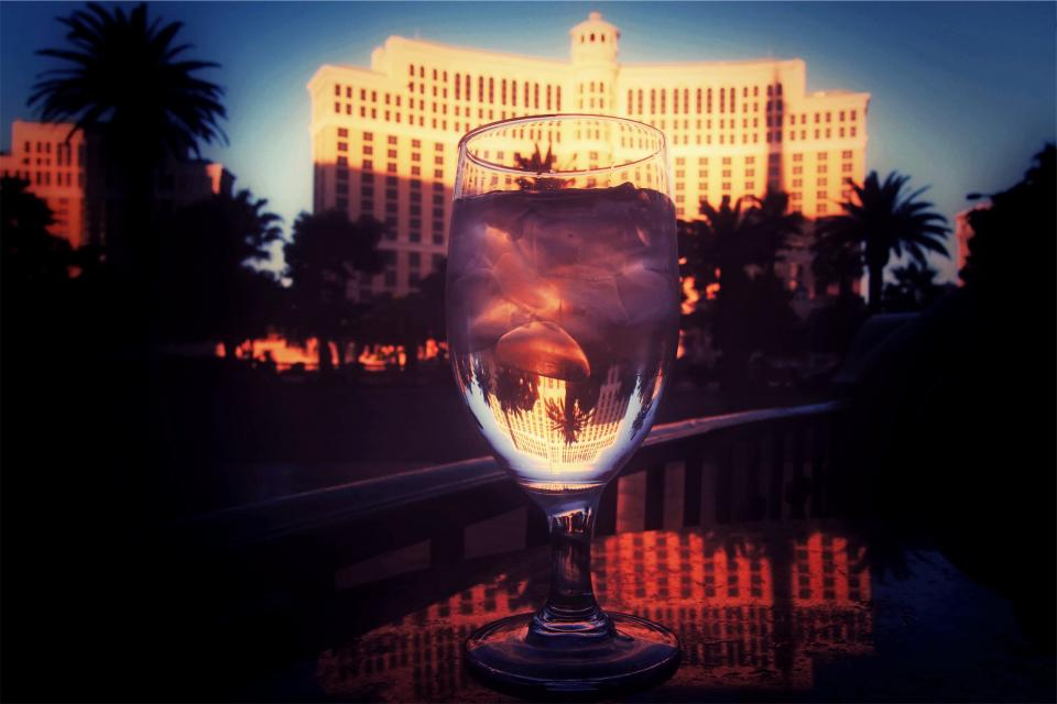 palmtrees LasVegas icecubes hotel glass drink casino Bellagio architecture