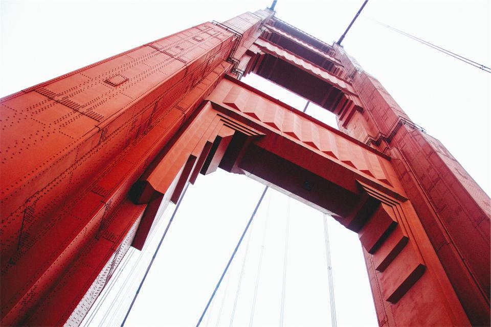 steel SanFrancisco red GoldenGateBridge architecture