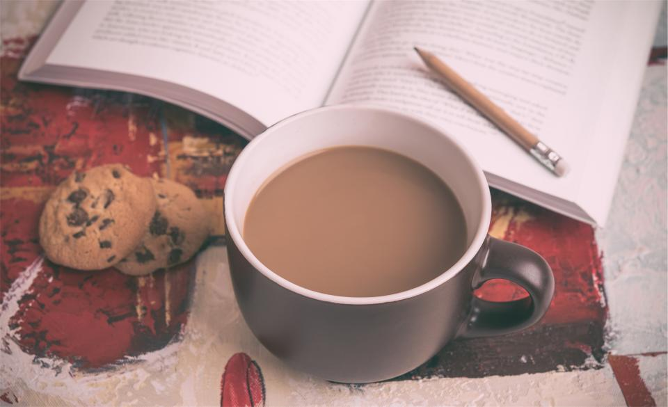 snack reading pencil mug food cup cookies coffee chocolatechip book