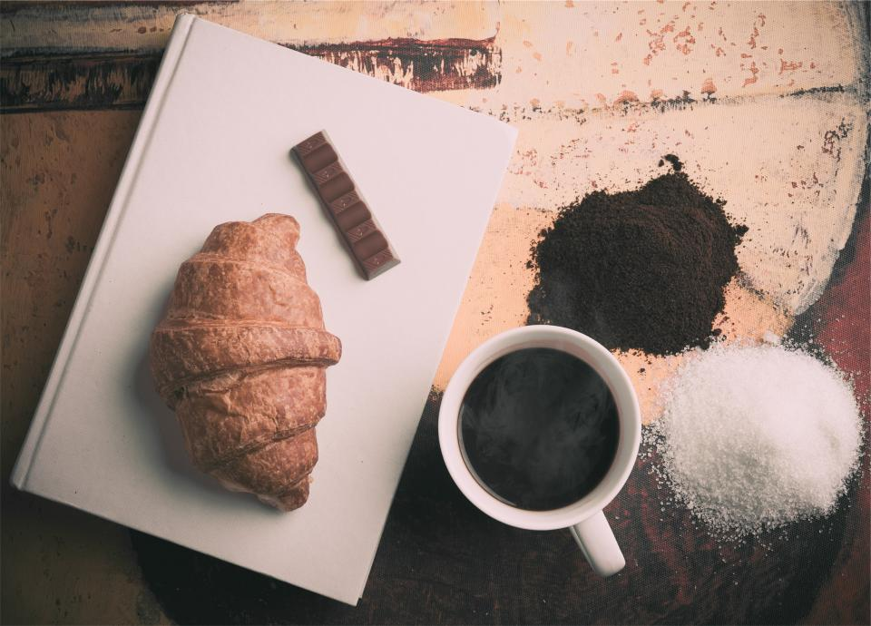 sugar snack mug food cup croissant coffee chocolate breakfast book