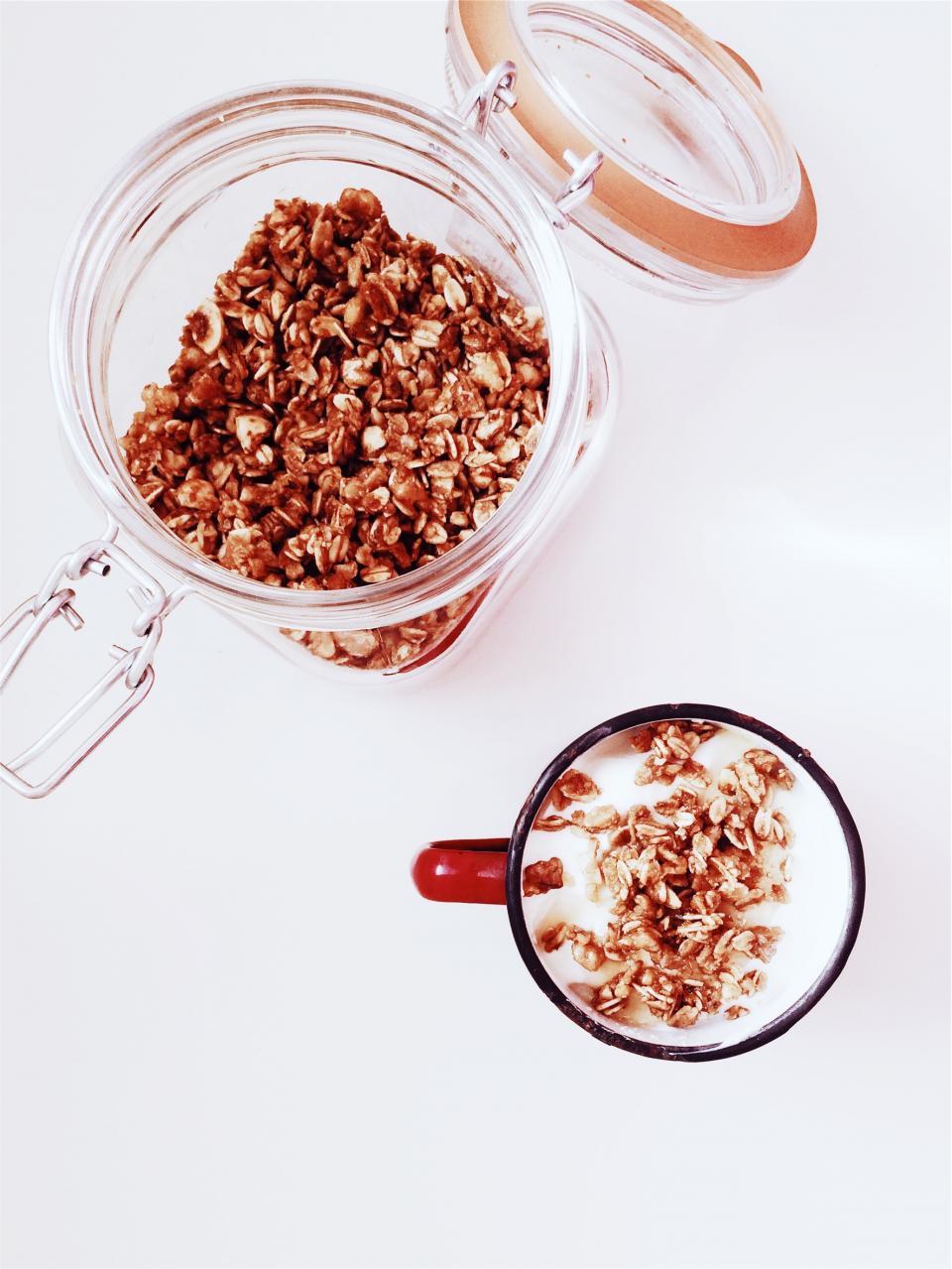 mug milk granola glassjar food cup cereal breakfast